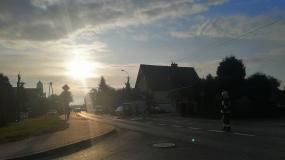 Wypadek z udziałem motocykla w Wieliszewie na Modlińskiej